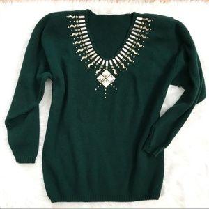 Vintage Emerald Green Rhinestone Long Sweater